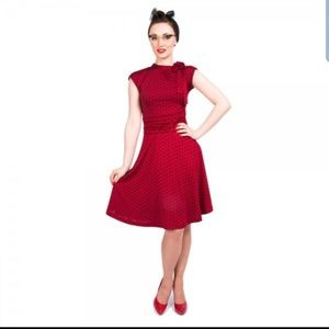 Lindy Bop Dottie Red Black Polka Dot Dress